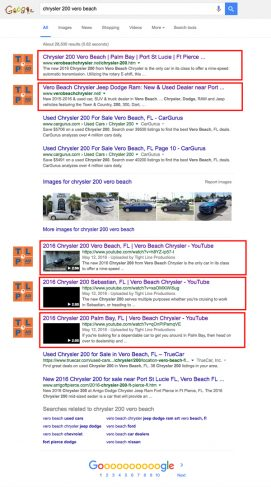 Chrysler 200 Google SERP