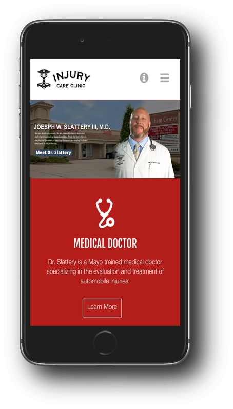 Injury Care Clinic Mobile Design